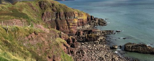 Amazing sandstone cliff formation along the Pembrokeshire Coast Path