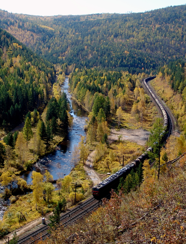 Beyond ecotourism The TRANS-Siberian railway at the river Olkha in the Baikal region