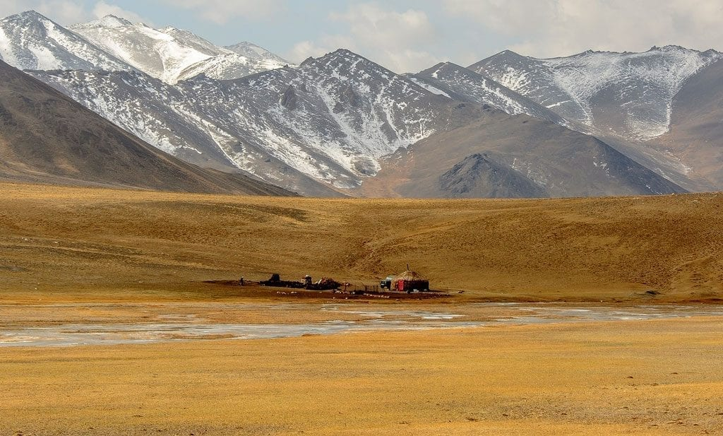 A lone yurt along the Pamir Highway