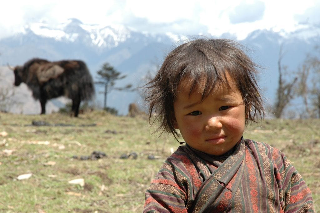 A local boy at high altitude on the Druk Path Trek
