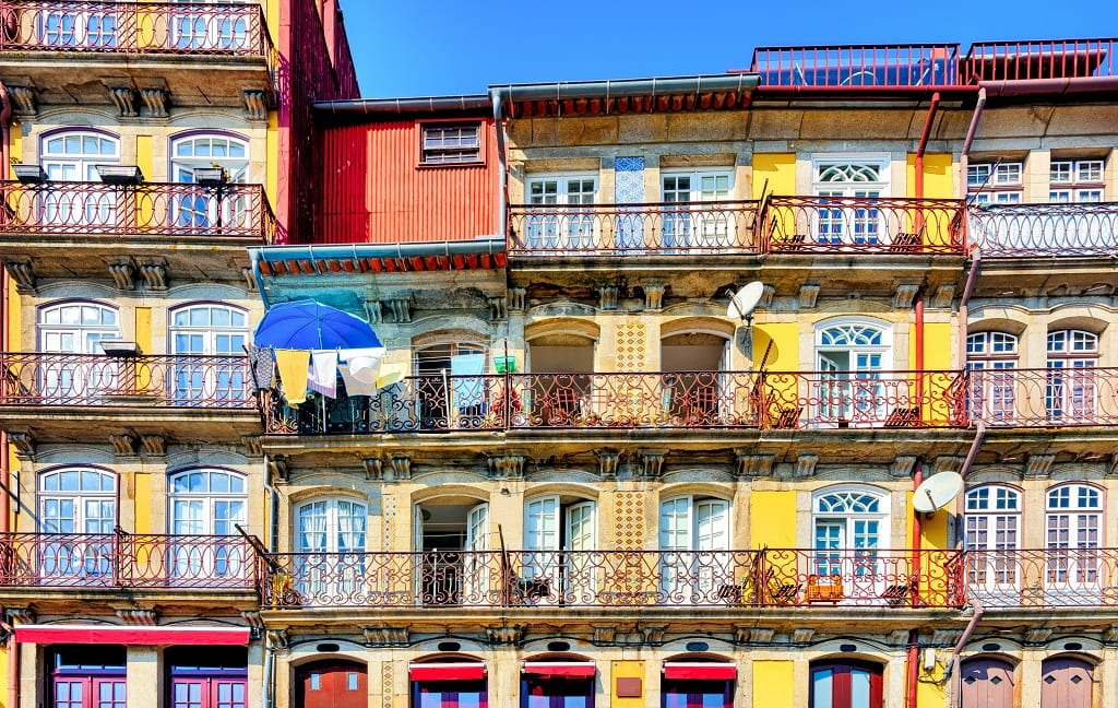 Colourful waterfront homes in Ribeira neighborhood of Porto