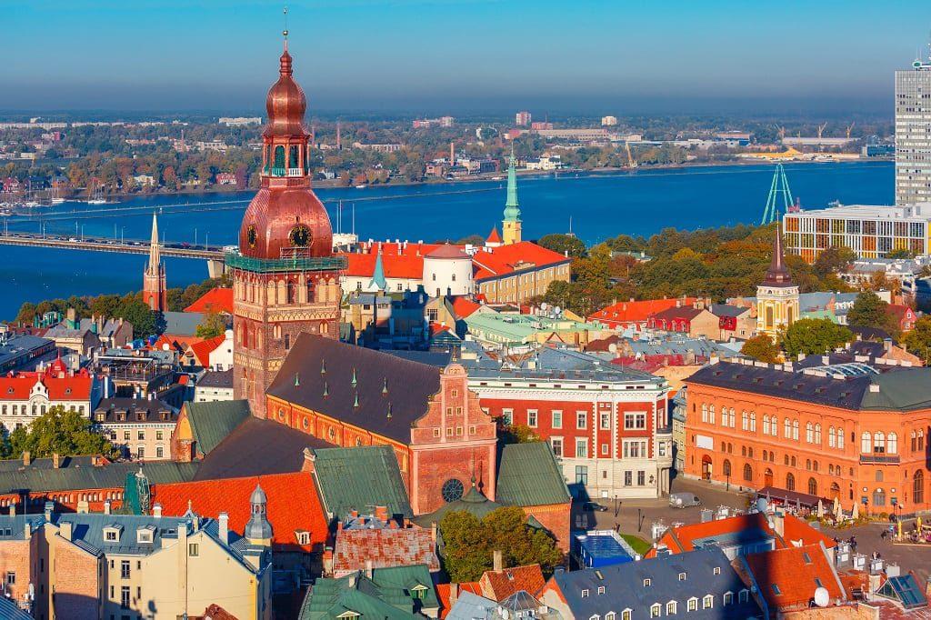Old Town and River Daugava in Riga