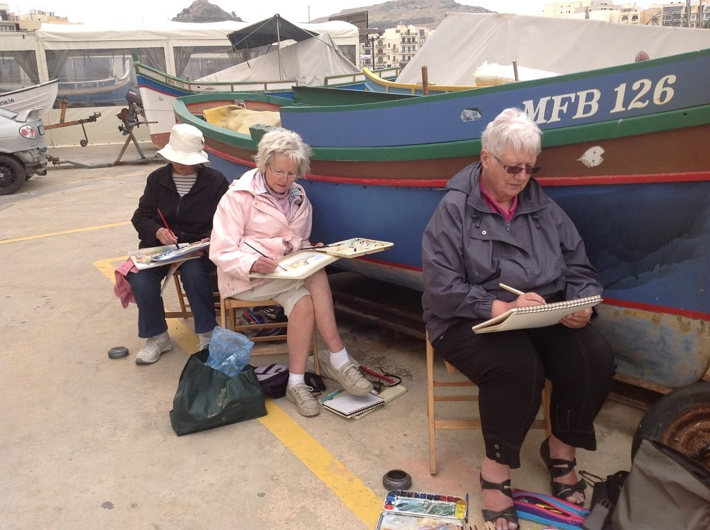 AA Painting at St Malo Sheltering from the wind
