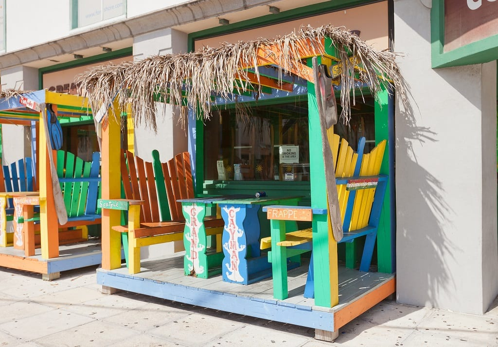 Colorful cabin of street cafe in George Town of Grand Cayman