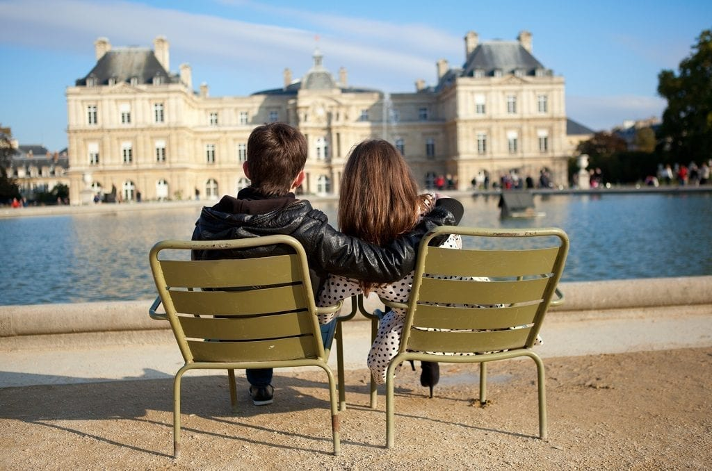 Enjoying the Luxembourg garden of Paris
