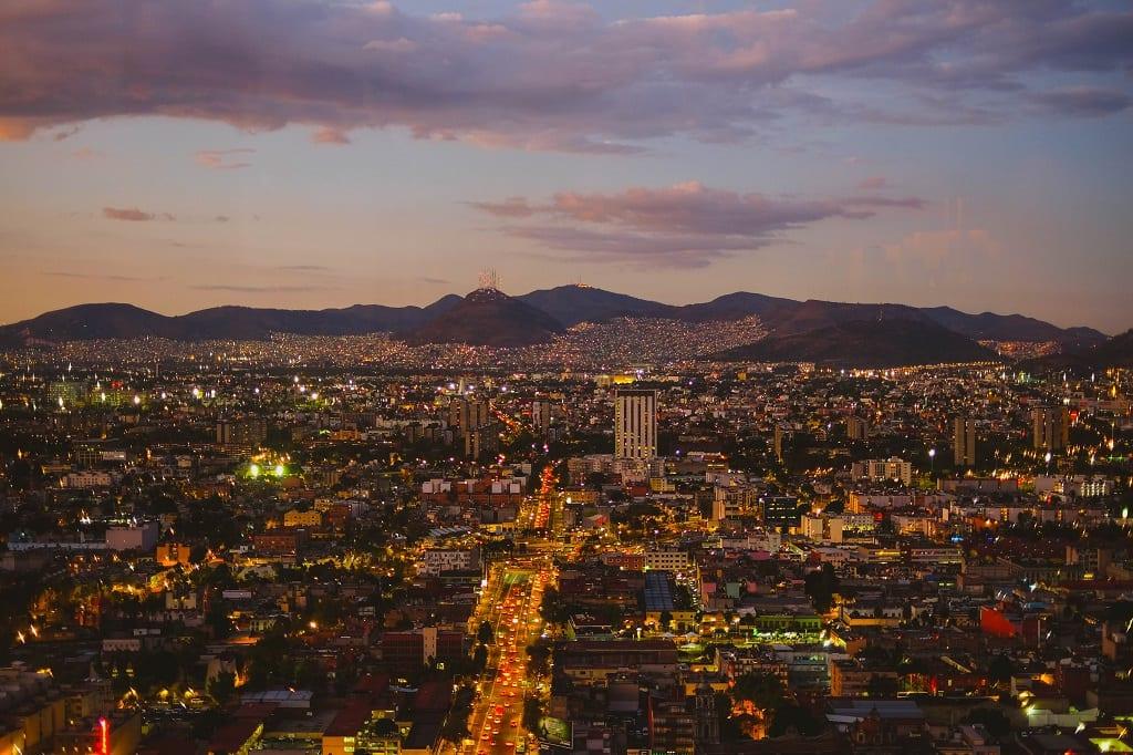 Mexico City at dusk.