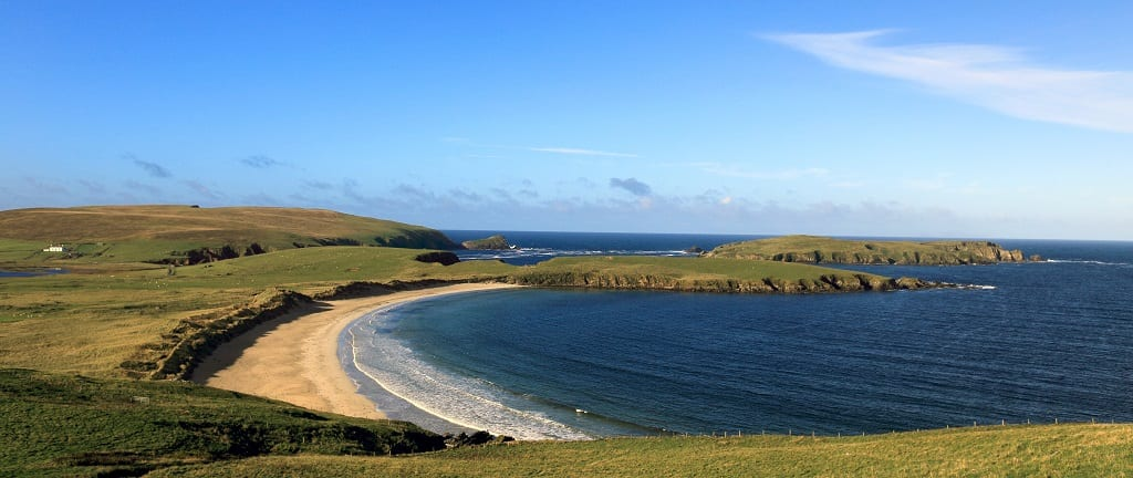 Sandy beach in the Bay of Scousburgh, south Mainland, Shetland