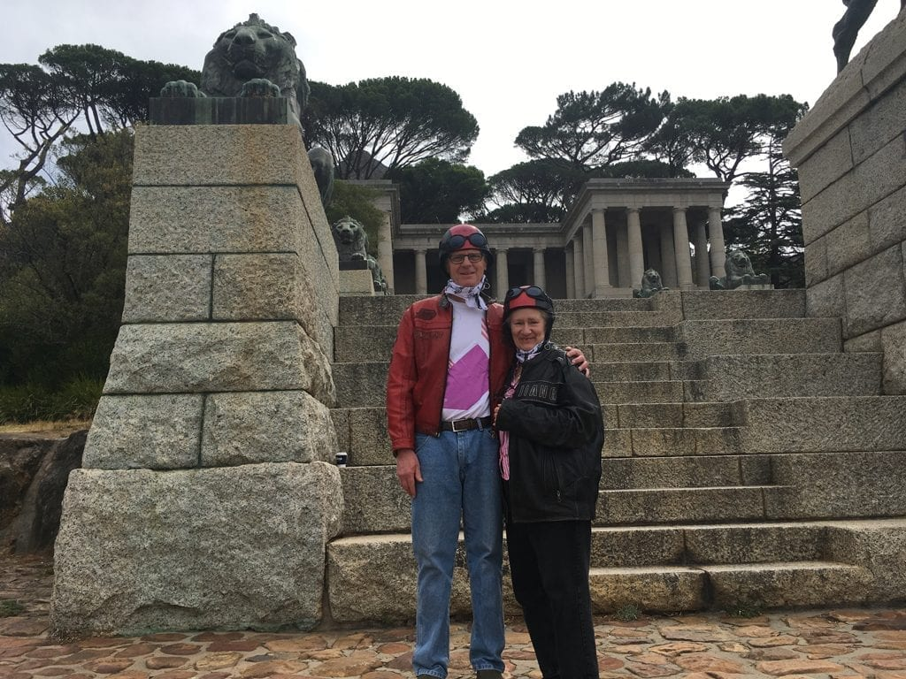 Roger and Eileen posing at the Rhodes memorial