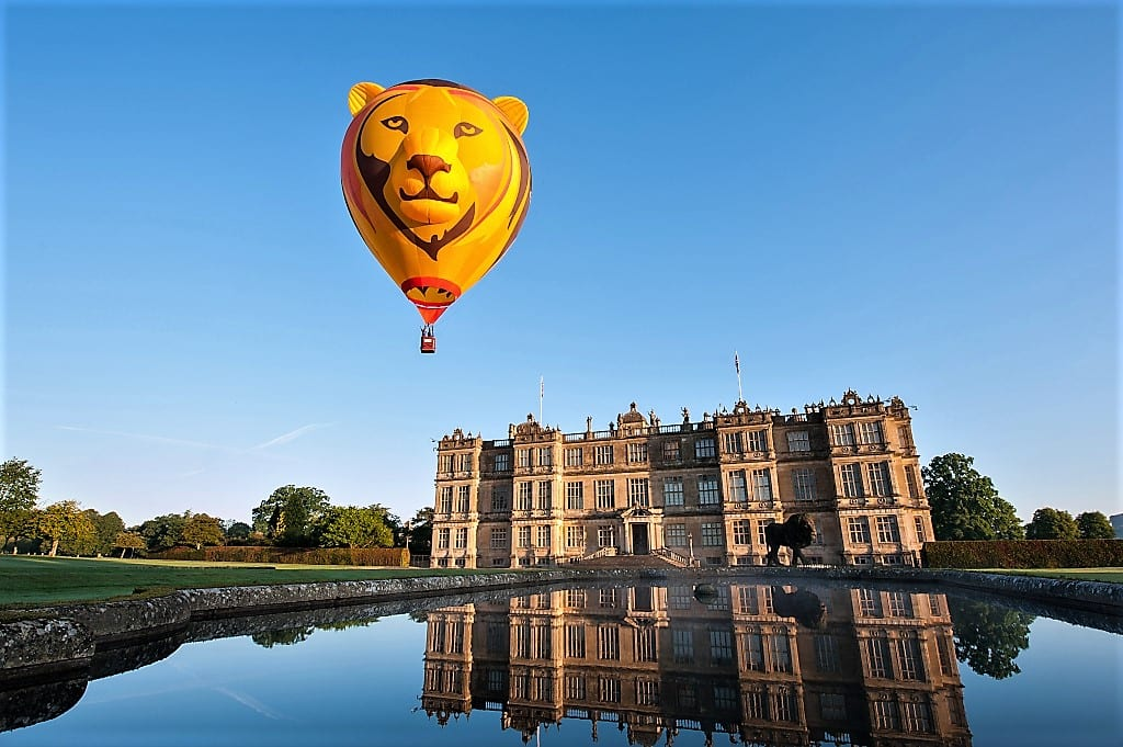 Simbaloo the lion hot air balloon rises over Longleat House