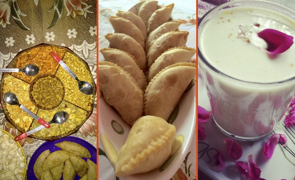 Indian salty snacks, gujia and thandai