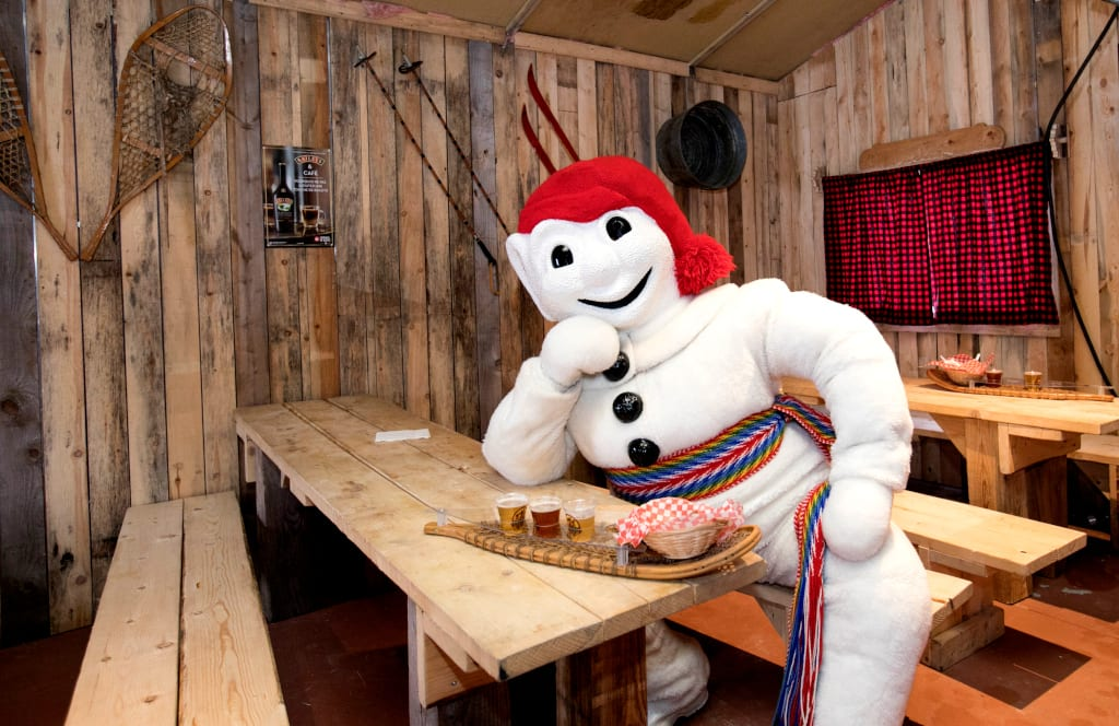 carnivals around the world Bonhomme relaxing at the Quebec Winter Carnival,