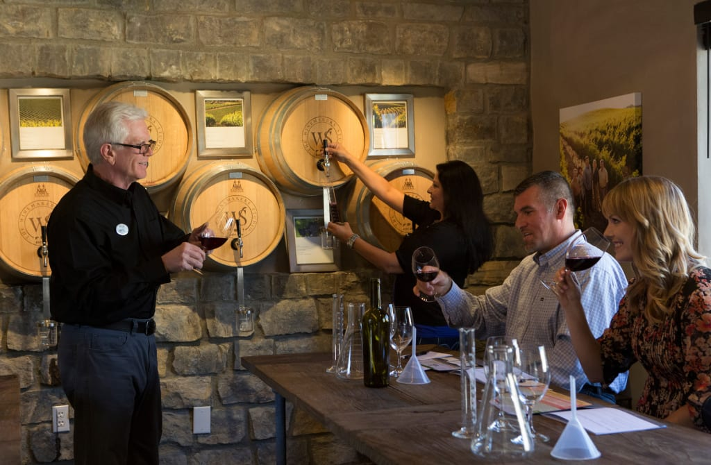 Receiving instructions on the perfect blend at Wente Winery