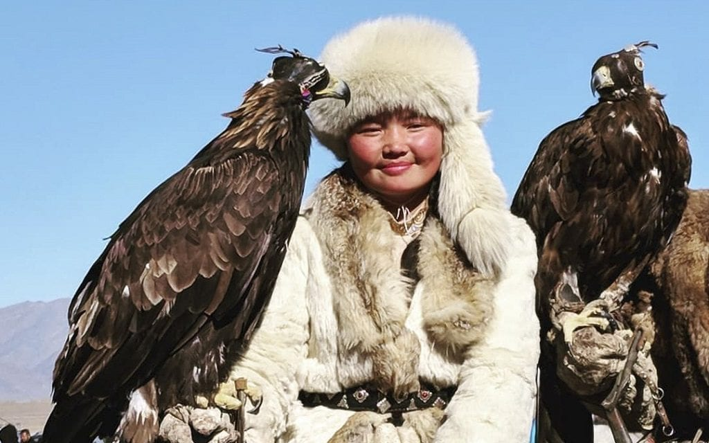 "Aishol Pan, star of ""The Eagle Huntress"", Mongolia"