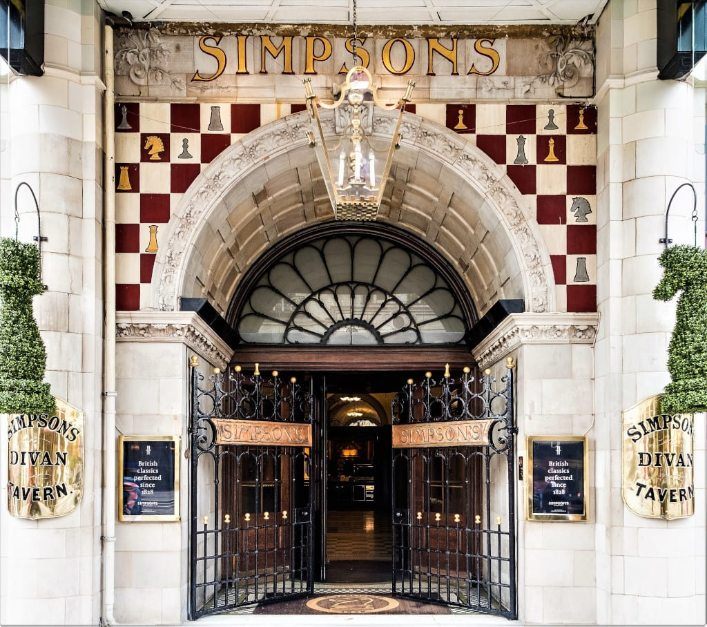 Iconic entrance to Simpson's in the Strand (www.jamesbedford.com)