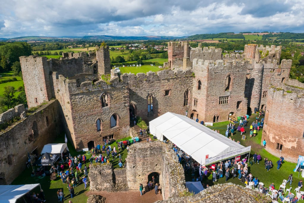 The Inner Bailey of Ludlow Castle, seen from the Great Tower.
