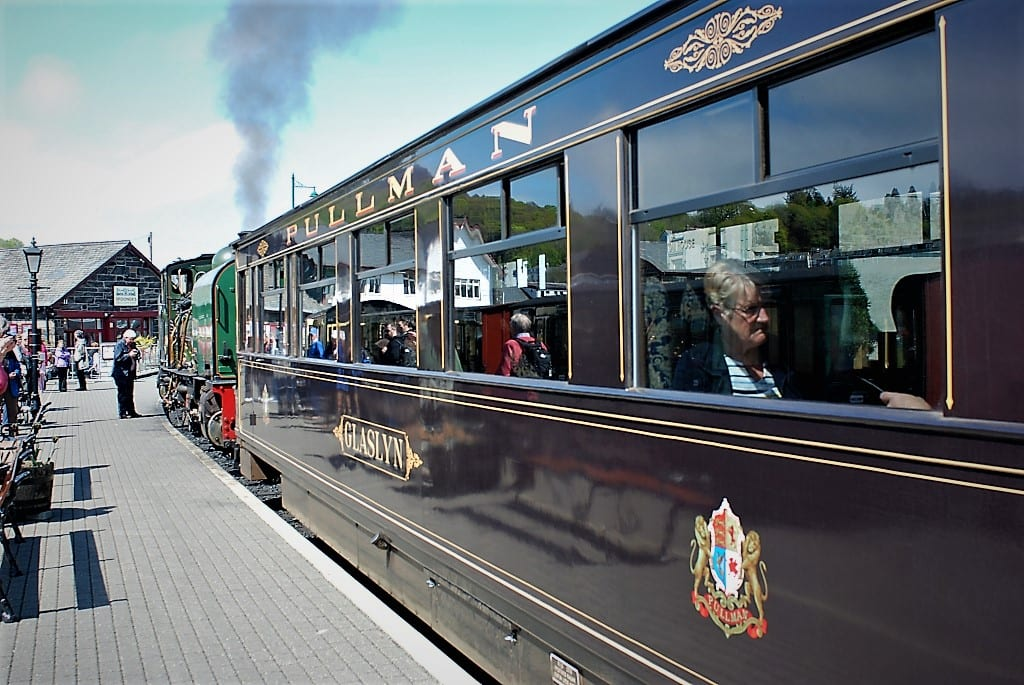 Pullman carriage on Ffestiniog Line