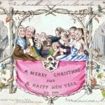 World's first commercially produced Christmas card, designed by John Calcott Horsley RA upon request by Sir Henry Cole. Lithographed and hand-coloured.