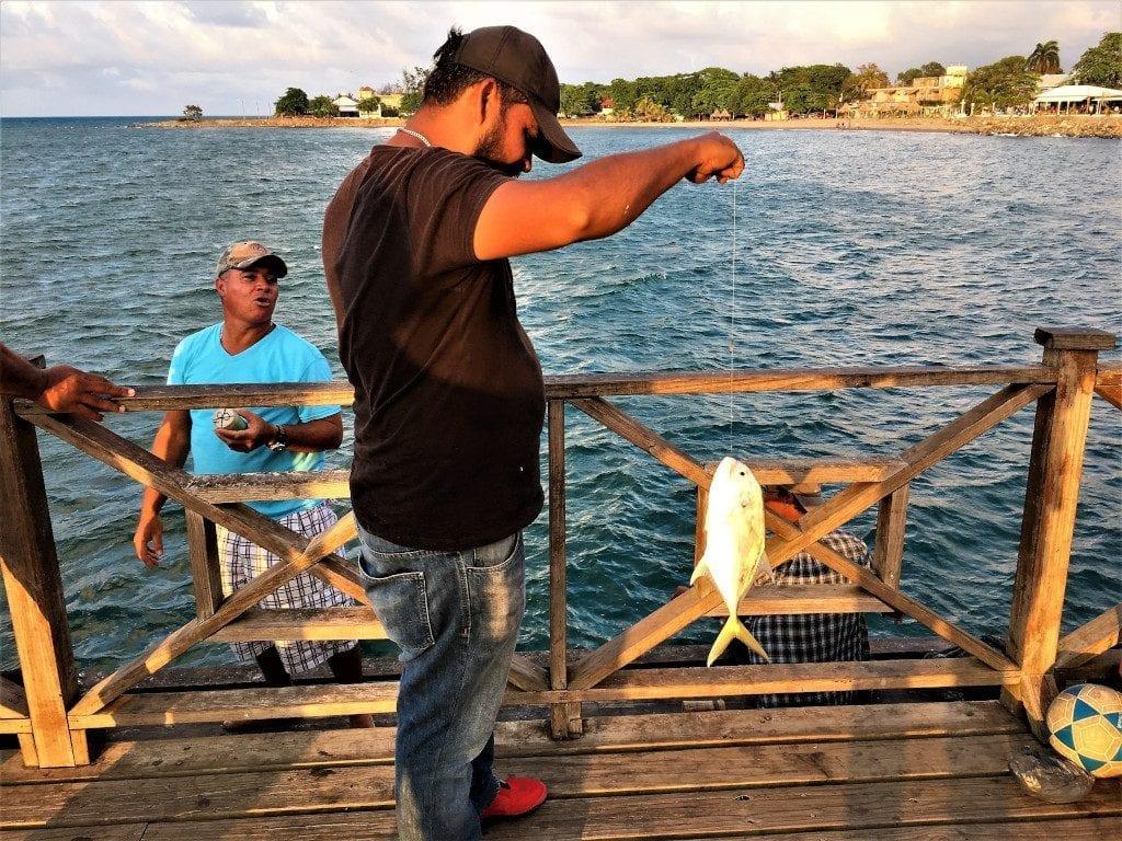 Catching supper at La Ceiba pier
