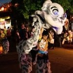 Lion dances on the full moon