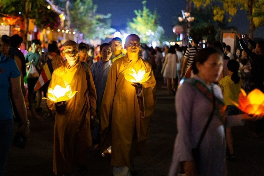Monks parade for Vesak Day