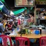 Food stalls inside Dong Ba Market