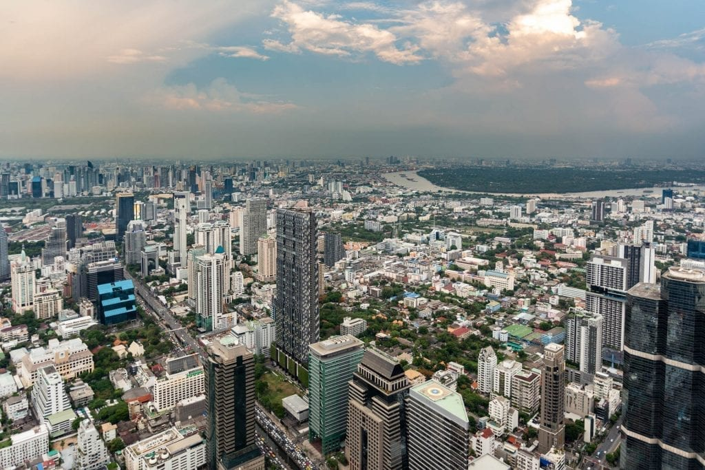 Looking northeast over Bangkok's green lung from the King Power MahaNakhon Tower
