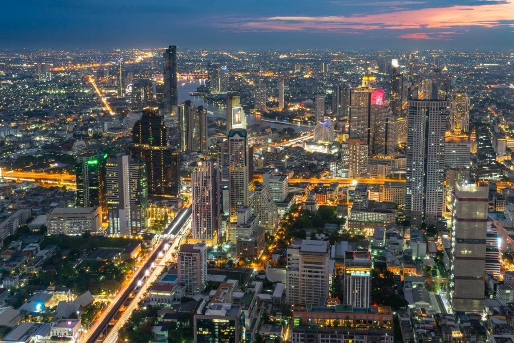 City view from the King Power MahaNakhon Tower in Bangkok, Thailand