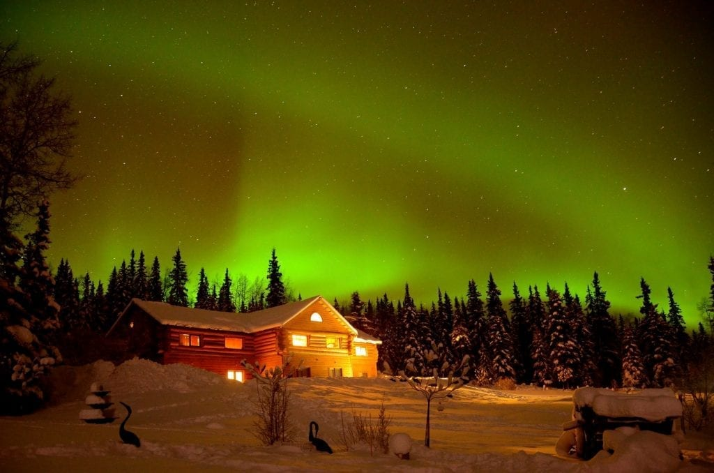 Northern Lights above the lodge in Fairbanks