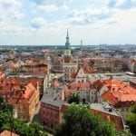An aerial view of Poznan Old Town