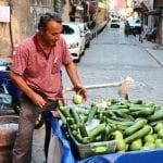 A cucumber vendor in Balat