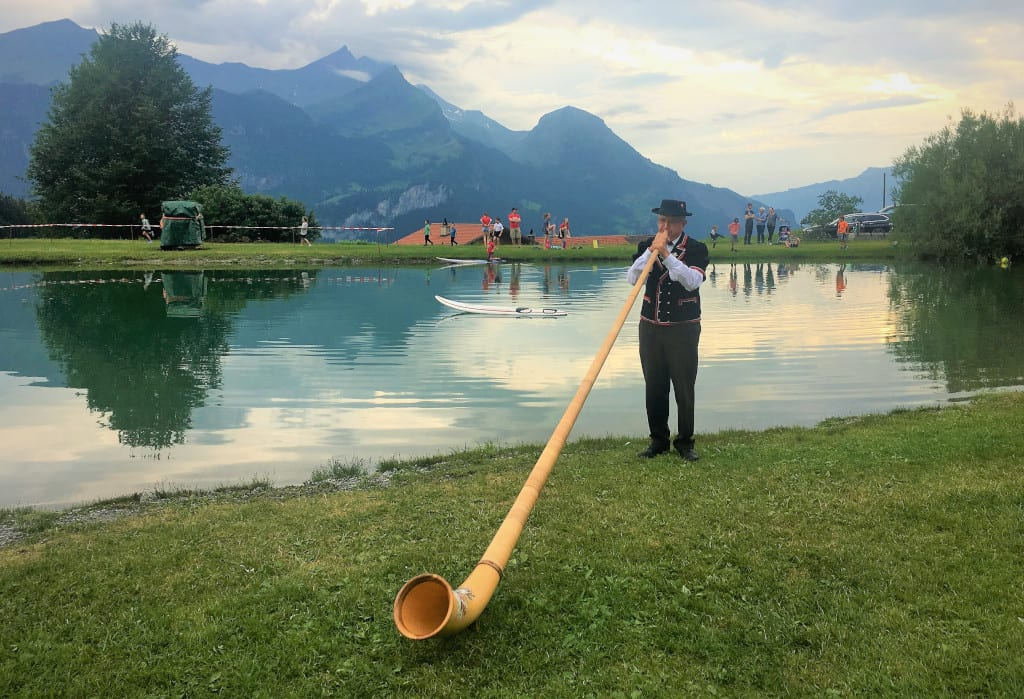 Playing the alphorn on Swiss National Day