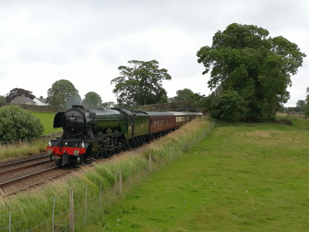 On track ... Flying Scotsman hauling the Northern Belle. Picture_ WILL SMITH