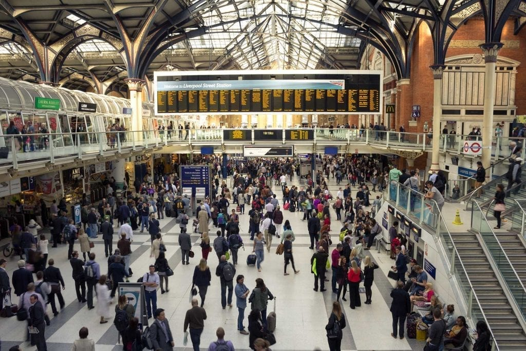 London's Liverpool Street Station gets even busier over the August Bank Holiday weekend