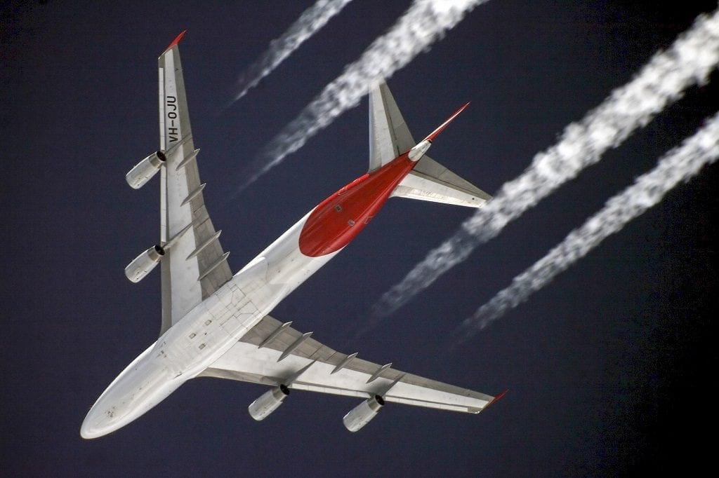 plane travel - contrails