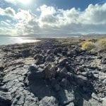 Lanzarote Volcanic terrain north of Punta Mujeres, Lanzartoe.