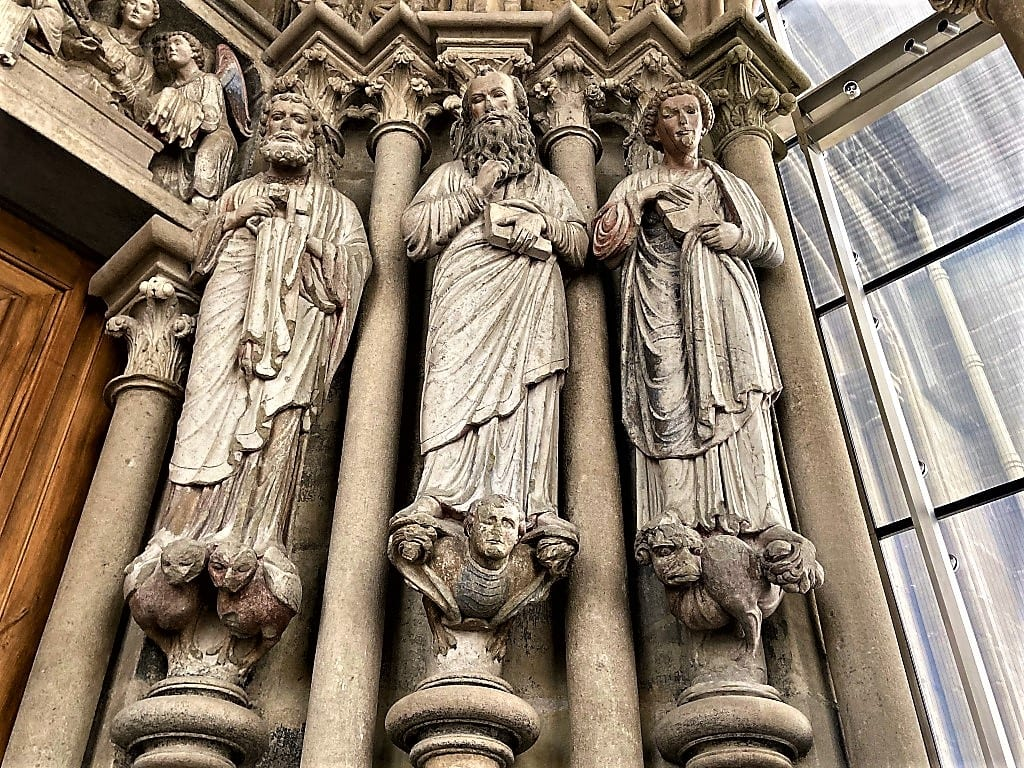 Original statues at Lausanne Cathedral