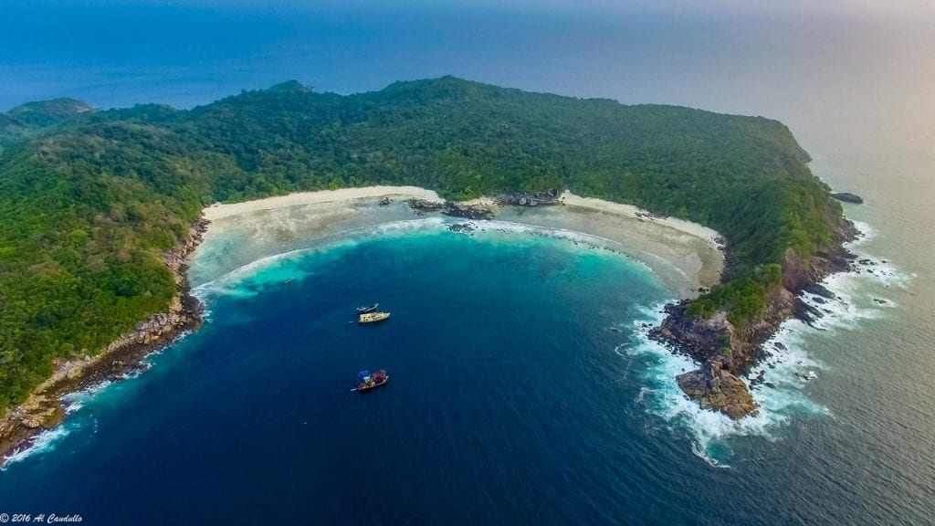 Aerial view over Boulder Island Mergui Archipelago in the Andaman Sea, off the coast of Myanmar