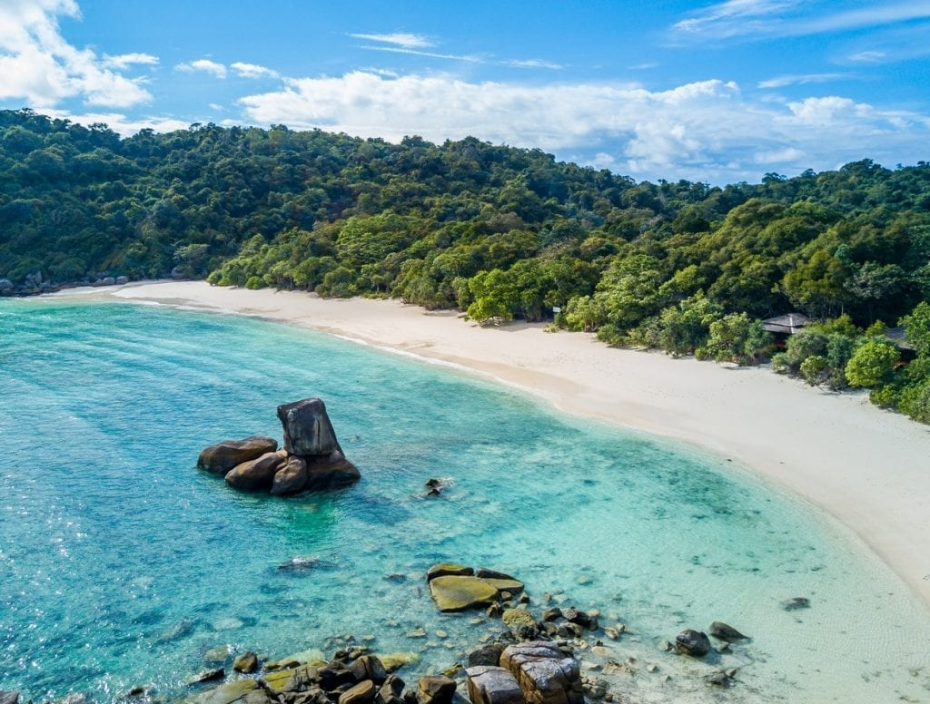 Boulder Bay with its iconic balancing boulder which could be Skull Rock from Peter Pan's Neverland Mergui Archipelago