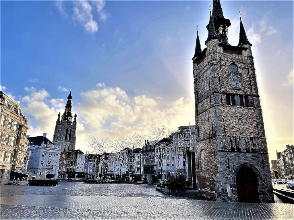 The Belfry and the Grotk Markt in Kortrijk