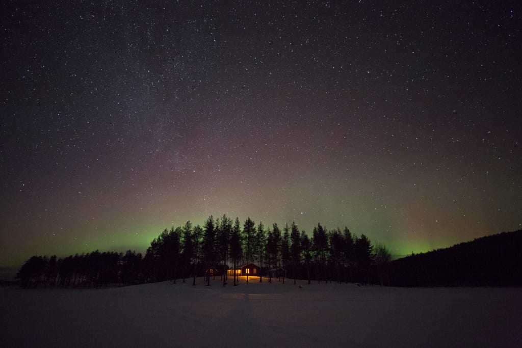 aurora and small cabin, our only neighbour