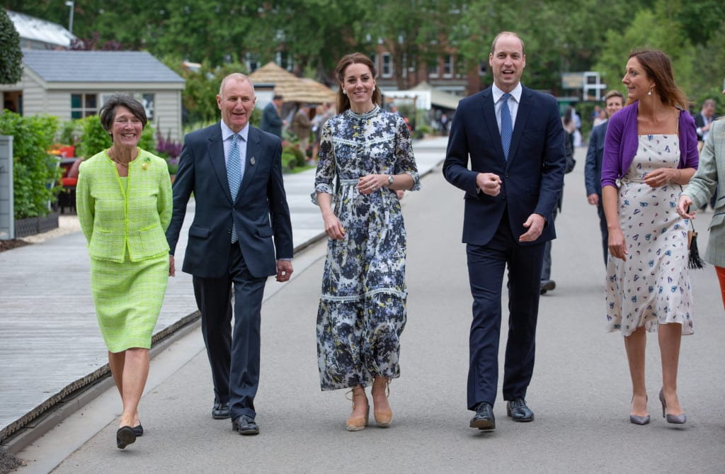 William and Catherine the Duke and Duchess of Cambridge walk with RHS Treasurer Sandy Muirhead and his wife left, and Haley Monckton at the RHS Chelsea Flower Show during press day in London, May 20, 2019. Photo by Suzanne Plunkett/RHS
