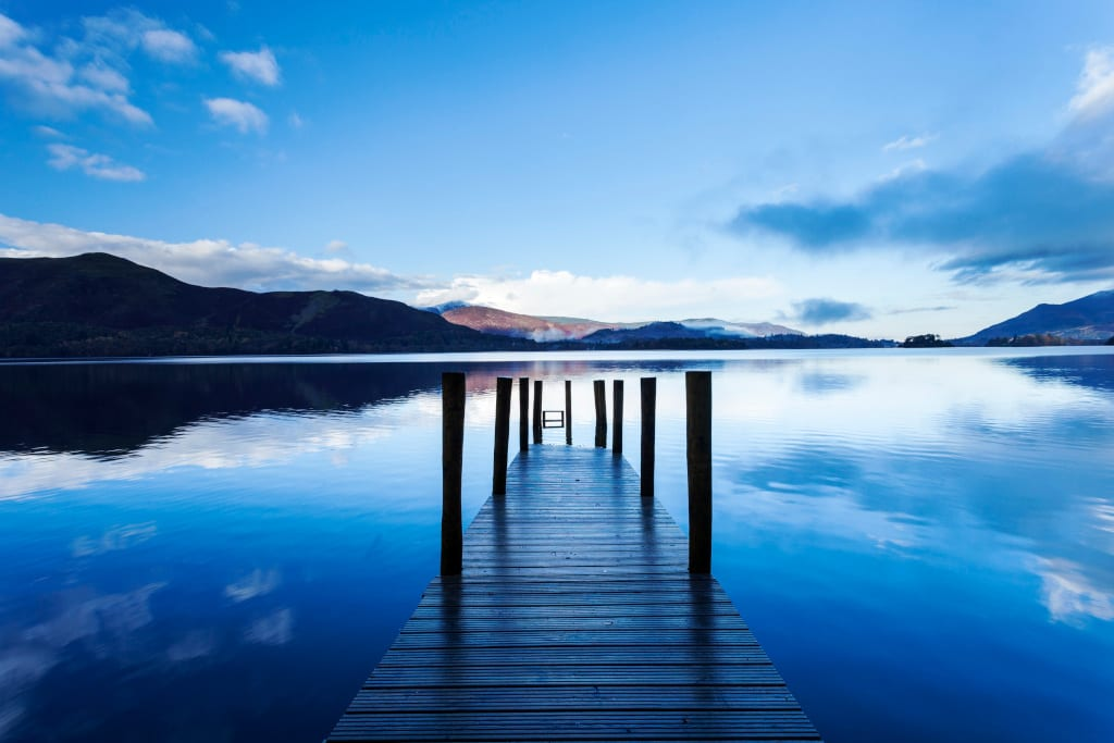 Ashness Jetty on Derwentwater, one of the principal lakes of the Lake District National Park, Cumbria