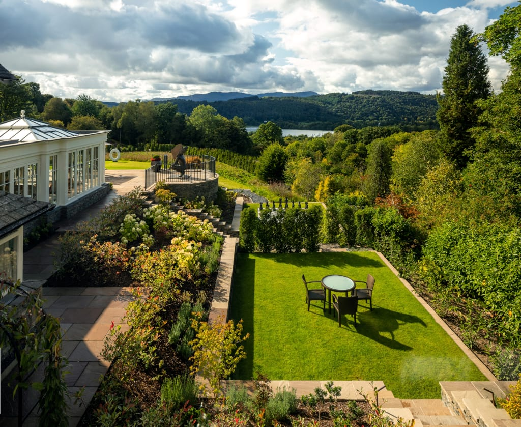 Linthwaite House - gardens & view over Windermere HI RES