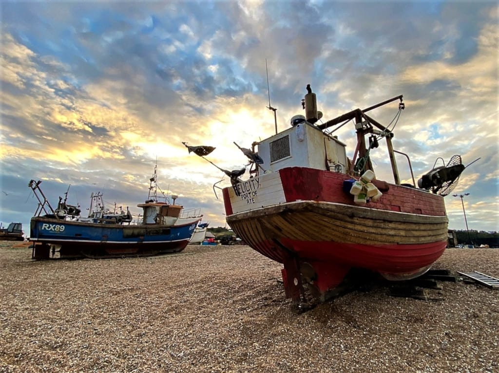 Fishing boat on Hastings Stade at sunset