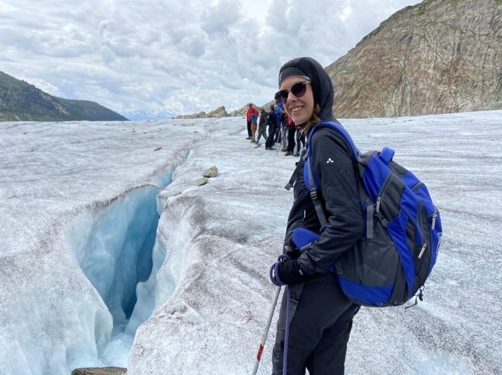 Jasmine leading the way across the Aletsch Glacier