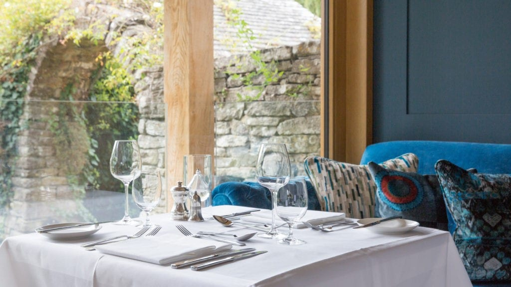 Fine dining in the restaurant at the The Priory Hotel Wareham