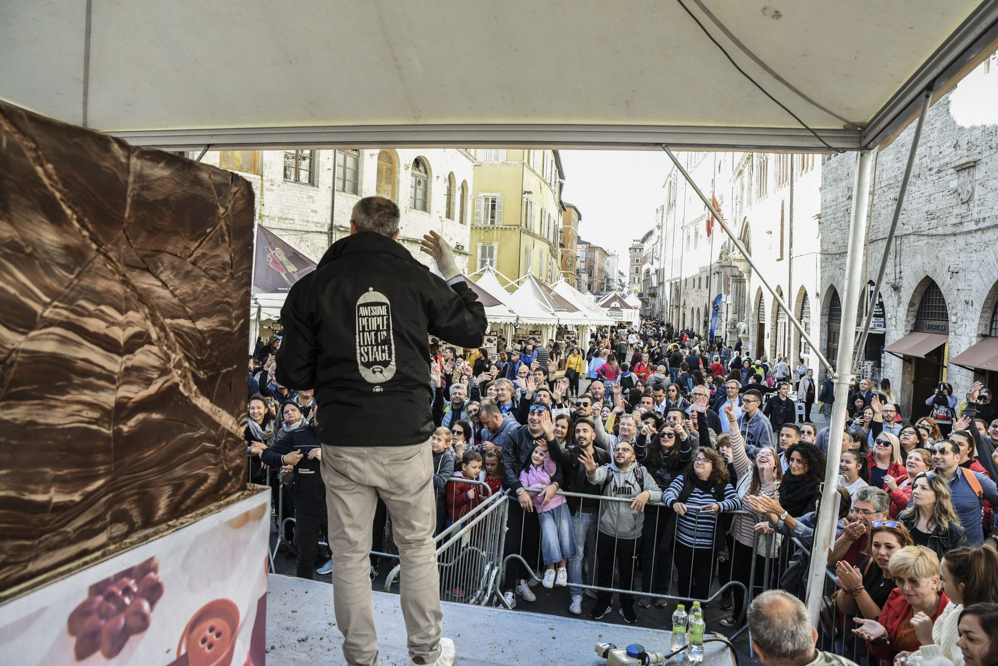 Crowds flocking to the streets of Perugia for Eurochocolate Festival