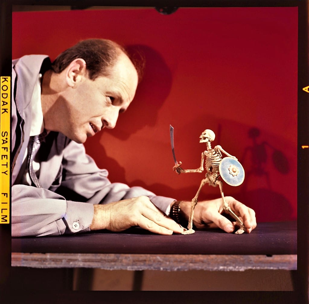 Ray Harryhausen (1920-2013) animating a skeleton model from The 7th Voyage of Sinbad, 1958 © The Ray and Diana Harryhausen Foundation