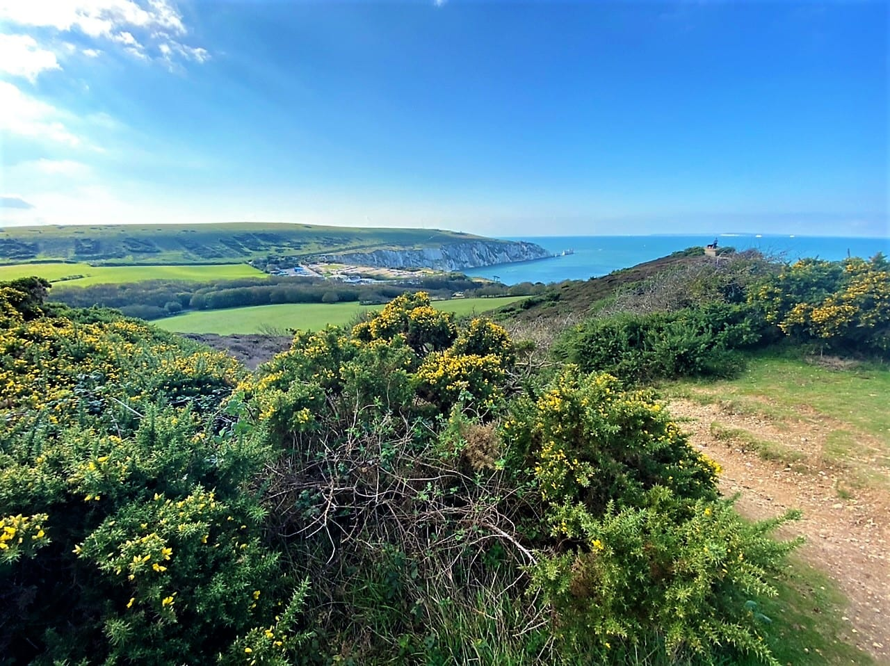 Isle of Wight walks The view from Heddon Warren towards the Needles