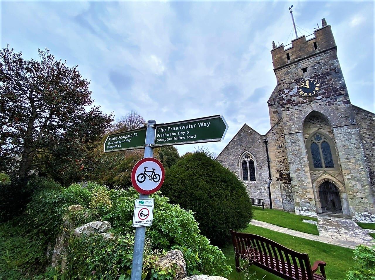 Isle of Wight walks Parish Church of All Saints in Freshwater